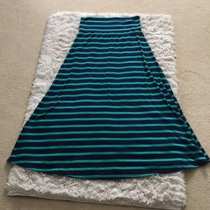 Mossimo Supply Co navy and green stripe maxi